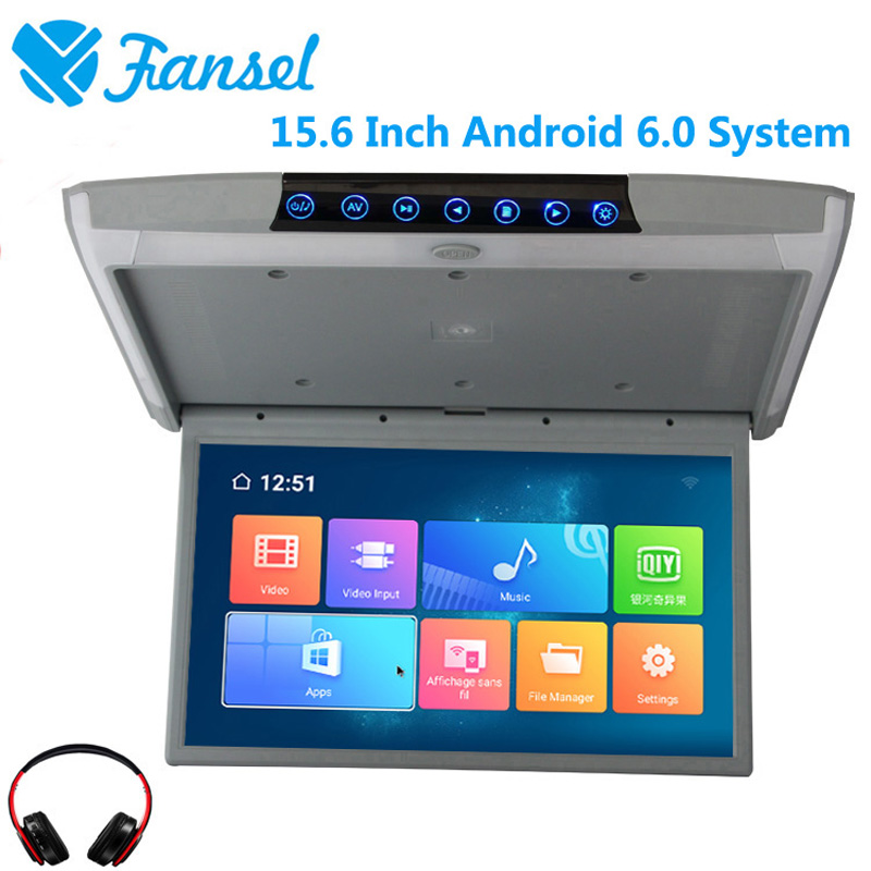 Fansel 15.6 Inch Android 6.0 Car Ceiling Monitor Mount Roof HD 1080P Video IPS Screen WIFI/HDMI/USB/SD/FM/Bluetooth/Speaker/Game