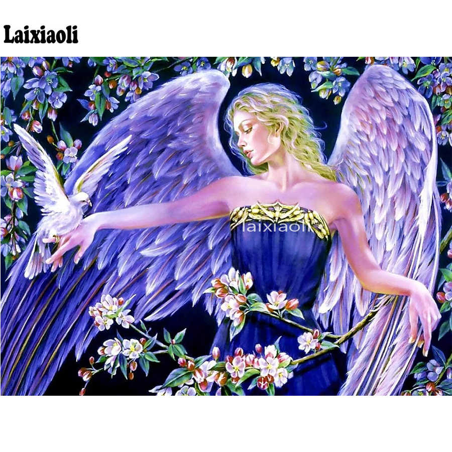 Полный квадратный круглый дрель Алмазная картина голубь девочка Ангел вышивки крестом домашняя декоративная вышивка мозаикой эльф мозаичное ремесло
