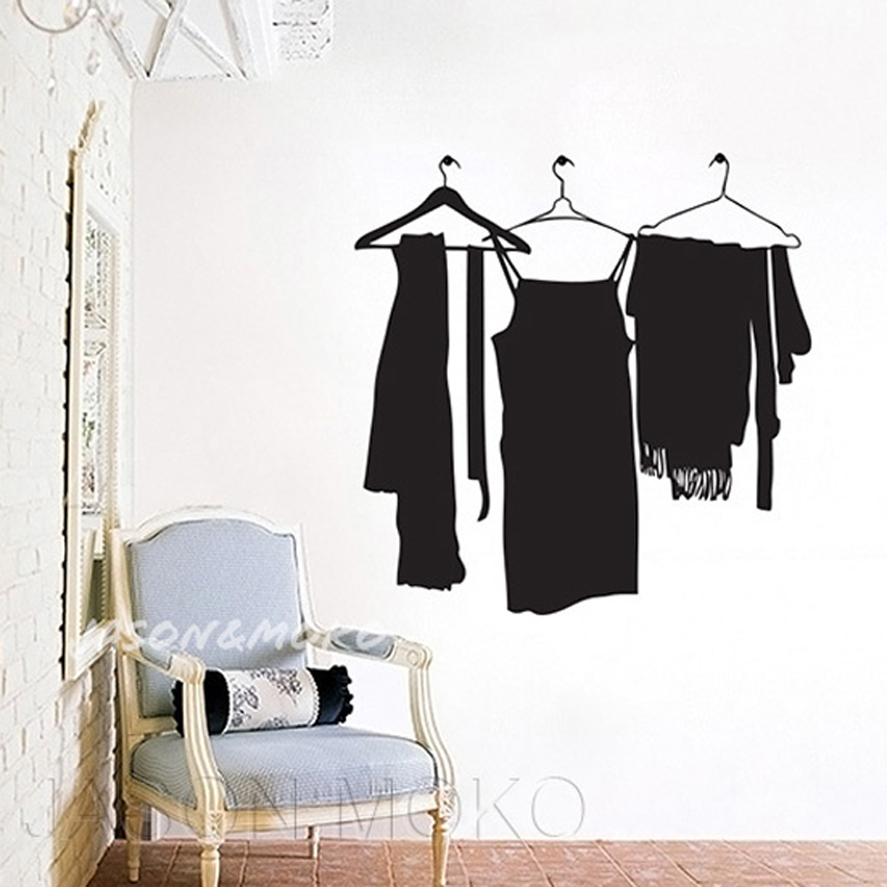 Hang Clothes Coat Hanger Rack Vinyl Wall Stickers Mural Decal Wallpaper Bedroom Cloakroom Dressing Room Home Decoration 90x90cm