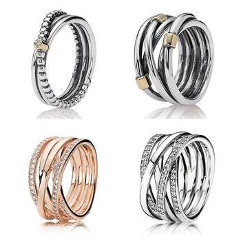 63ee74e7ee45 Nuevo anillo de Plata de Ley 925 Rosa entrelazados de plata anillos  entrelazados para las mujeres regalo de fiesta de boda bien la joyería de  Pandora