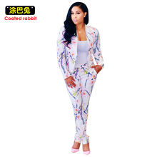 2017 Spring Autumn Pant Suits Women Fashion Leisure Suit Floral Print Suit Jacket And Harlan Pants White Classic Twinset Elegant