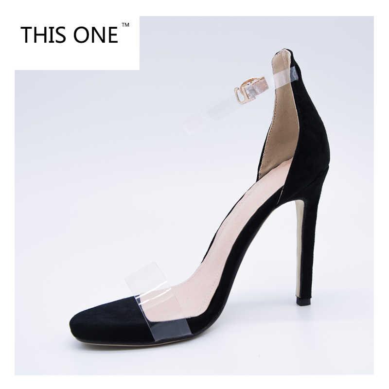 PVC 2018 מכירה חמה סנדלי פלטפורמת נשים עקבים סופר גבוהים Sandalia נעלי חתונה גביש שקופים נקבה עמיד למים Feminina