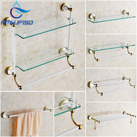 White Golden Bathroom Hardware Set Gold White Towel Rail Rack Bar Shelf Bathroom Accessories