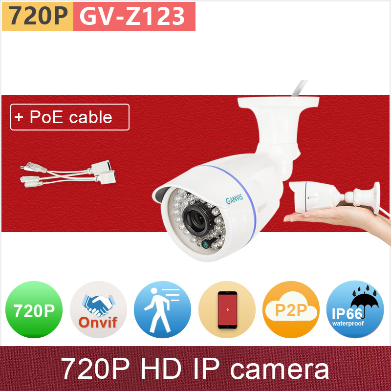+PoE cable kit# ONVIF h.264+ VBR HD 720P IP camera outdoor 1mp security IR bullet cctv camera mini waterproof GANVIS GV-Z123 pk free shipping wholesale h 264 home security ir outdoor p2p cloud bullet ip camera 1 0mp hd 720p