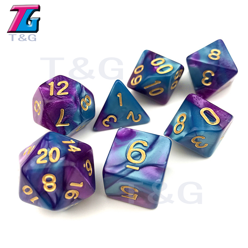 Cool Mix-color Dice of 7PCS/ Set Dnd Cube Board Game/ Role Playing for Gift Dados De Rpg