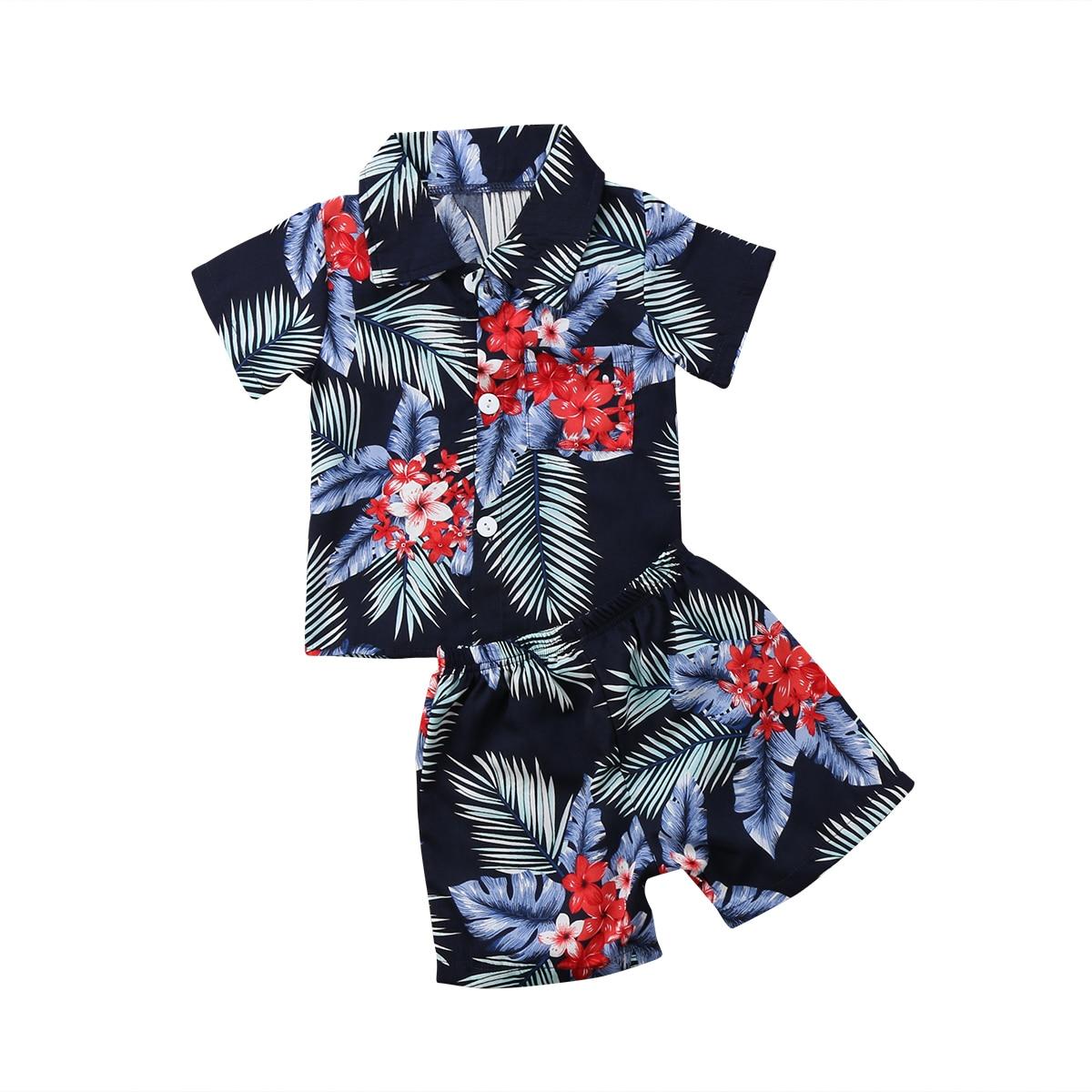2018 Casual Newborn Toddler Kids Baby Boy Beach Clothes Short Sleeve T Shirt Tee Tops+Pants Floral 2PCS Outfits Set