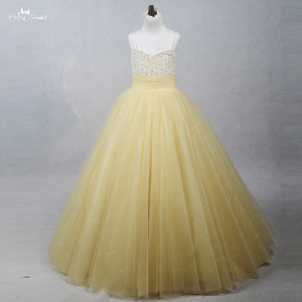 FG75 Champagne & Gold Real Pictures Yiaibridal Beaded Gown Ballgowns Premiere Communion Pretty   Flower     Girl     Dresses   Yellow
