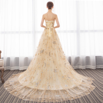 Formal Prom Dresses 2019 Strapless Wedding Party Evening Gown With Train Sexy Long Prom Dress 3