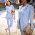 2017 Новый женский элегантный baby blue офис бизнес работа костюмы пальто формальный рабочая одежда равномерное стиль твердые костюм брюки наборы корея