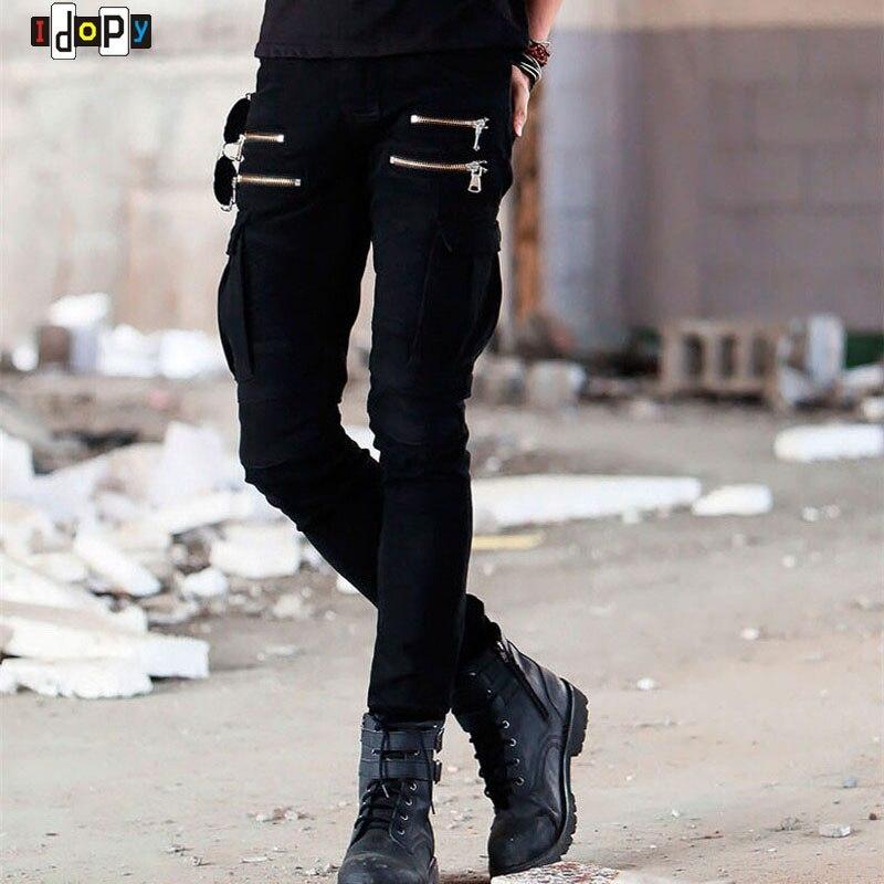 Hi Street Mens Cargo Jeans Designer Muli Pockets Zippers Hip Hop Skinny Elastic Runway Army Style