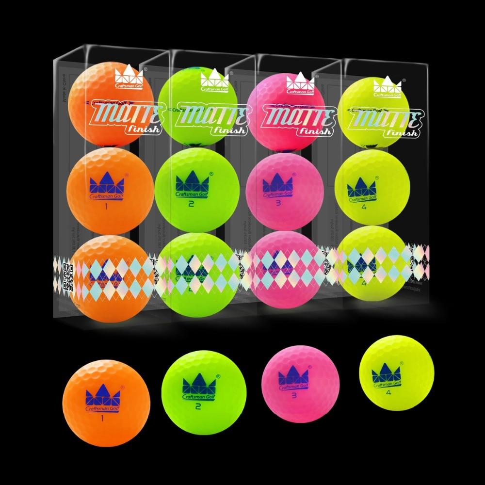 Craftsman 12pcs Golf Balls Matte Finish Long Distance 2 Piece Matte Golf Balls 12 pack Colored Matte Balls NEW!-in Golf Balls from Sports & Entertainment
