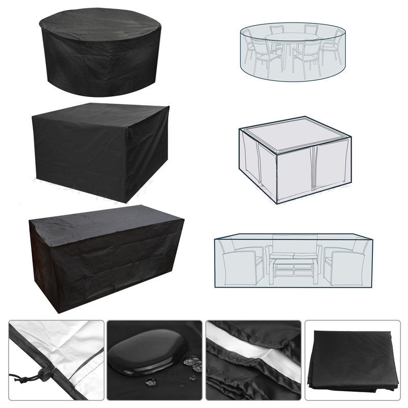 Waterproof Oxford Furniture Cover Patio Outdoor Garden Round Rectangle Table Chair Dust Cover Covers Furniture Accessories Black