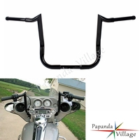 Black Motorcycle 12 14 16 Rise Monkey Bar Handlebars for Harley Baggers Dressers Touring with Batwing Fairing 1982 2017
