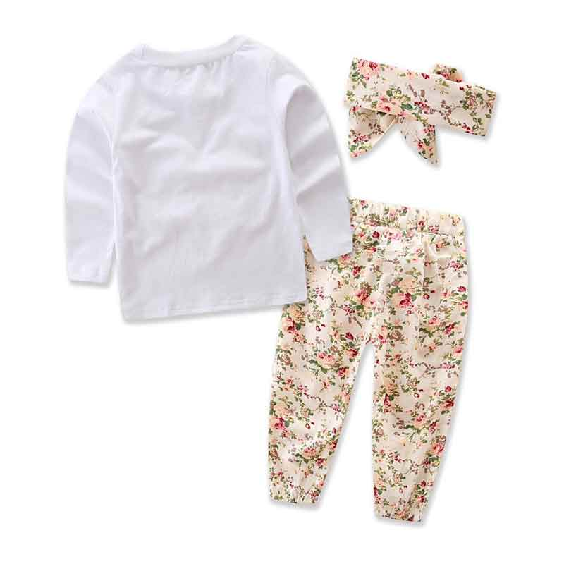 d06d5bb22 Fall Girls Clothing Set White Long Sleeve Girls Tshirt Floral Pants Outfit  Autumn Heart Big Bow Children Outfit Kids Clothes Tags: