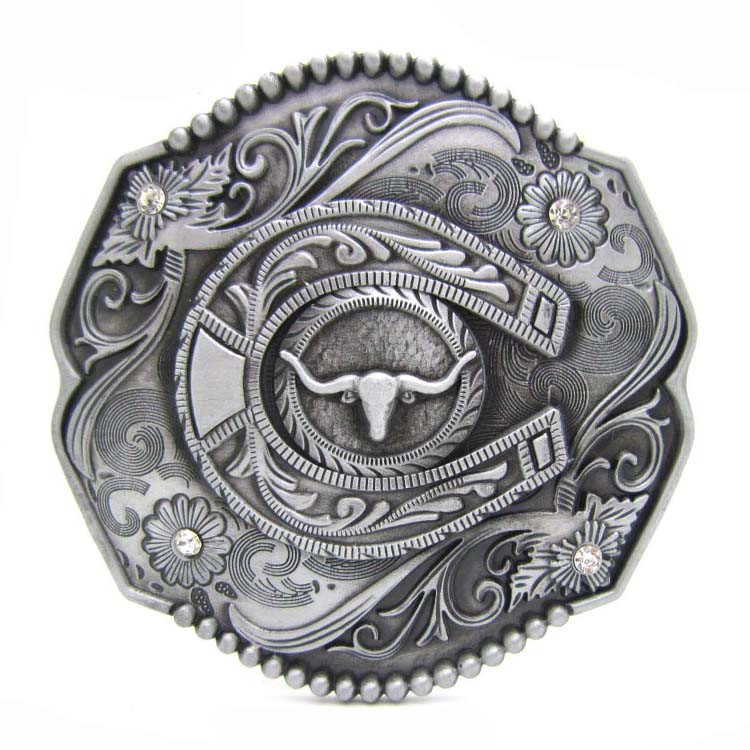 Horse Shoe And Bull Head Belt Buckle Floral Flower Cowboy Western