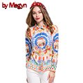 Autumn Spring Women Shirts Long Sleeve Sicily Style Print Turn-Down Collar Female Casual Slim Blouses Plus Size XXXL DG162