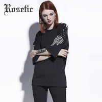 Rosetic Gothic T Shirt Loose Black Hollow Letter Print Casual Tees Women Summer Goth Tops Fashion