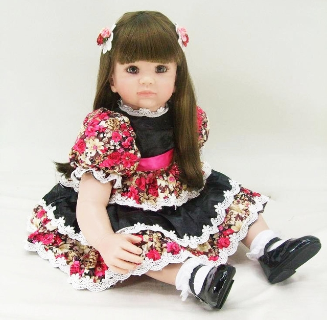 Lifelike 24 Reborn Toddler Girl Toy 60cm Vinyl Princess Baby Doll With Beautiful Dress Birthday Gift