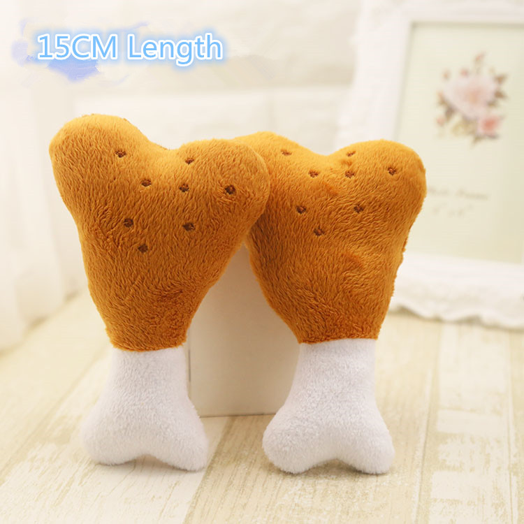 Dog Toy Chicken Leg BB Dogie Single Double Bone Squeak Toy Wistiti Lint Texture Soundable Cute Lovely K Pets Dogs Cats 2 Options