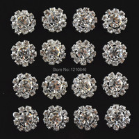 15mm Assorted Rhinestone Button Brooch Embellishment Silver Crystal Wedding Bouquet hair shoes dress accessories 50pcs/lot