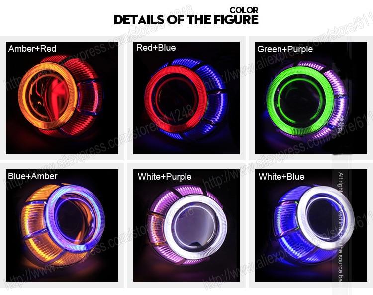 3.0 pouces 35 W voiture H1 H4 H7 Bi xénon projecteur lentille lumières externes jour lumière Led moto voiture phare lentille CCFL Angel Eyes - 2