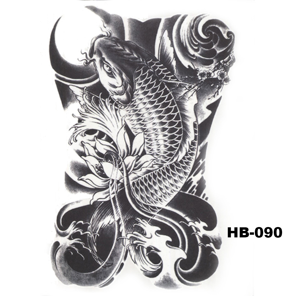 5 Pcs Hot Black Fish Totem Temporary Tattoo Stickers Waterproof Body Art Big Fake Shoulder Tattoo For Men and Women (32)