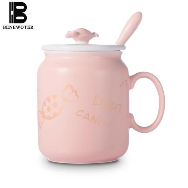 US $17.99 49% OFF|BENEWOTER 450 ml Kreative 3D Süße Candy Gemalt Keramik  mit Deckel Kaffee Cup | Wasser Milch Tee Becher Tasse Drink mit Geschenk ...