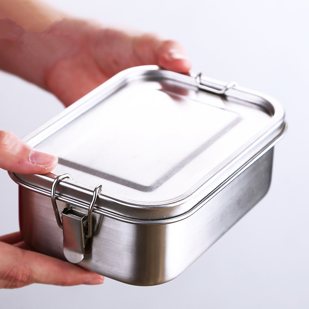 Leakproof Stainless Steel Bento Lunch Box Leak-proof Lid 1400ML Food Container With Removable Divider For Adults Or Kids