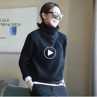 New Arrival 2018 Autumn And Winter New High Necked Cashmere Sweater Women's Cardigan Short Loose Zipper Long Sleeved Sweater Coa