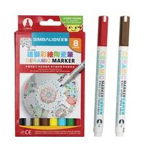 Simbalion 8 ألوان السيراميك الصباغ قلم ماركر رسم السيراميك الإبداعية diy سلسلة السيراميك لون القلم
