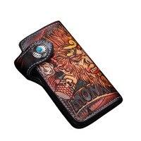 High Value Genuine Leather Men's Handmade Long Wallet Great Handcraft Monkey King Designer Leather Carved Man Hasp Card Wallet