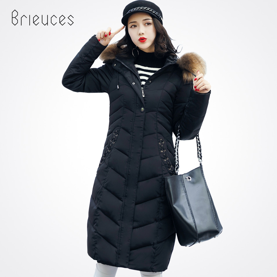Brieuces 2017 winter jacket women long coat parkas thickening female large fur collar warm clothes pockets winter coat 3xl 4xl 2016 winter jacket women parkas plus size hooded long coat parkas with real fur collar thickening female warm clothes