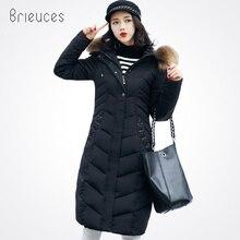 Brieuces 2017 Зимняя куртка женская длинное пальто парки утолщение женский большой меховой воротник теплая одежда карманов зимняя куртка