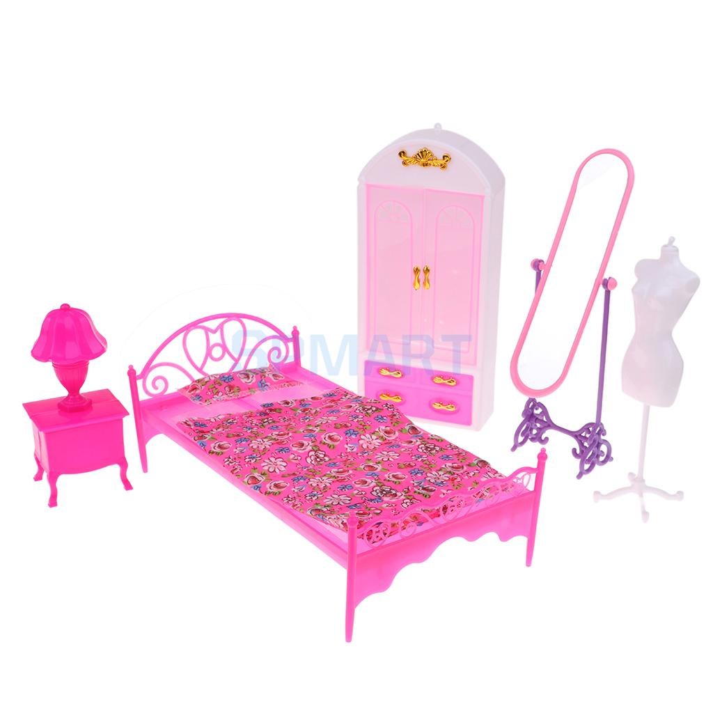 Modern Style Girls Bedroom Furniture Set Single Bed Wardrobe Full Length Mirror Mannequin For Dolls Accessory Furniture Toys Aliexpress