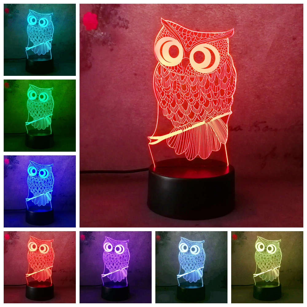 Best Sell 3D LED Desk Table Lamp Night Light Owl RC Remote 7 Color Change Touch Art Home Child Bedroom Sleeping Decor Holiday adjustable owl shaped 3d wooden stand lamp night light bedroom table desk lamp warm white lighting plug connector home decor