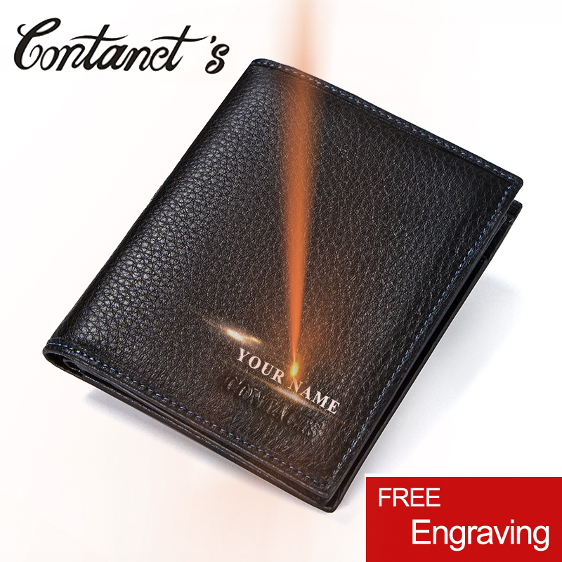 2018 New Casual Small Men Wallets Genuine Leather Mens Wallet Bifold Design With Coin Purse Pockets Mini Walet High Quality