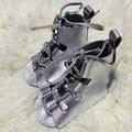 Gladiadores prata Couro Genuíno Sapato Menino