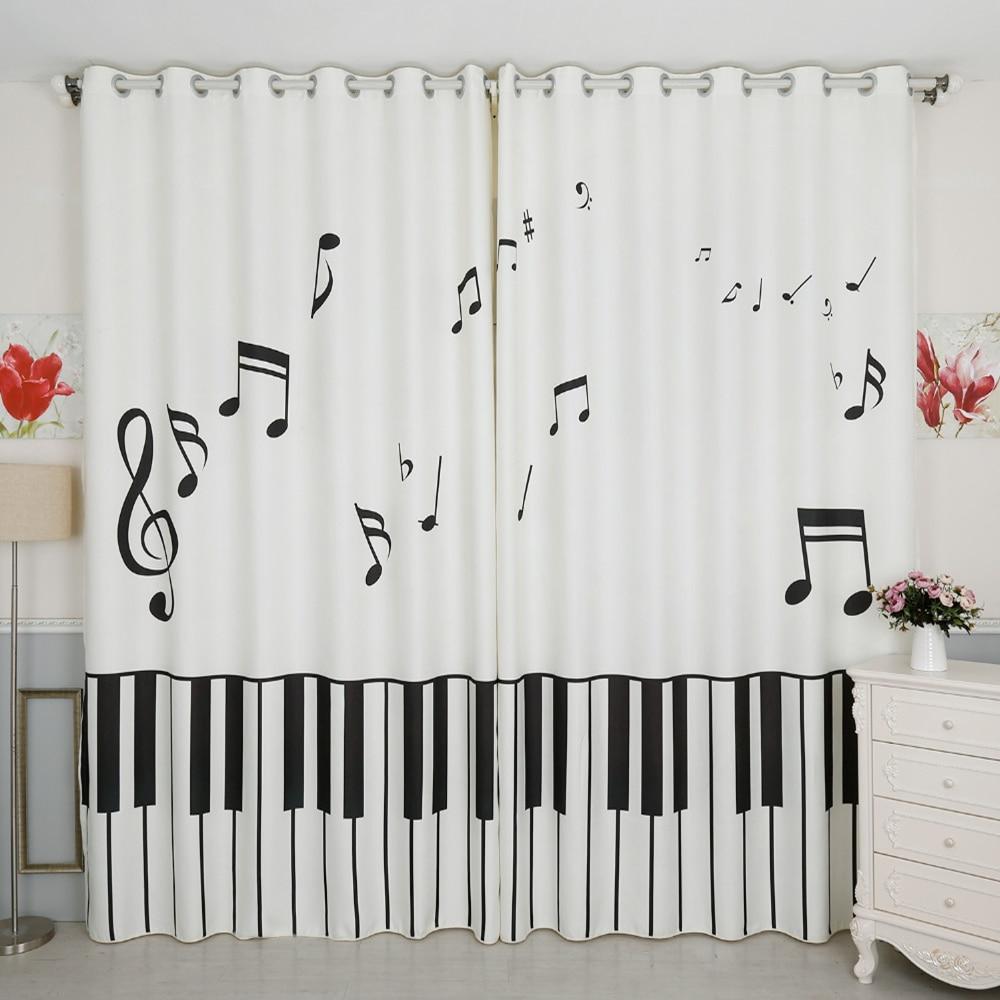 3d rideaux occultants blanc Piano clavier Note de musique motif épaissir velours coton chambre décor rideau pour salon
