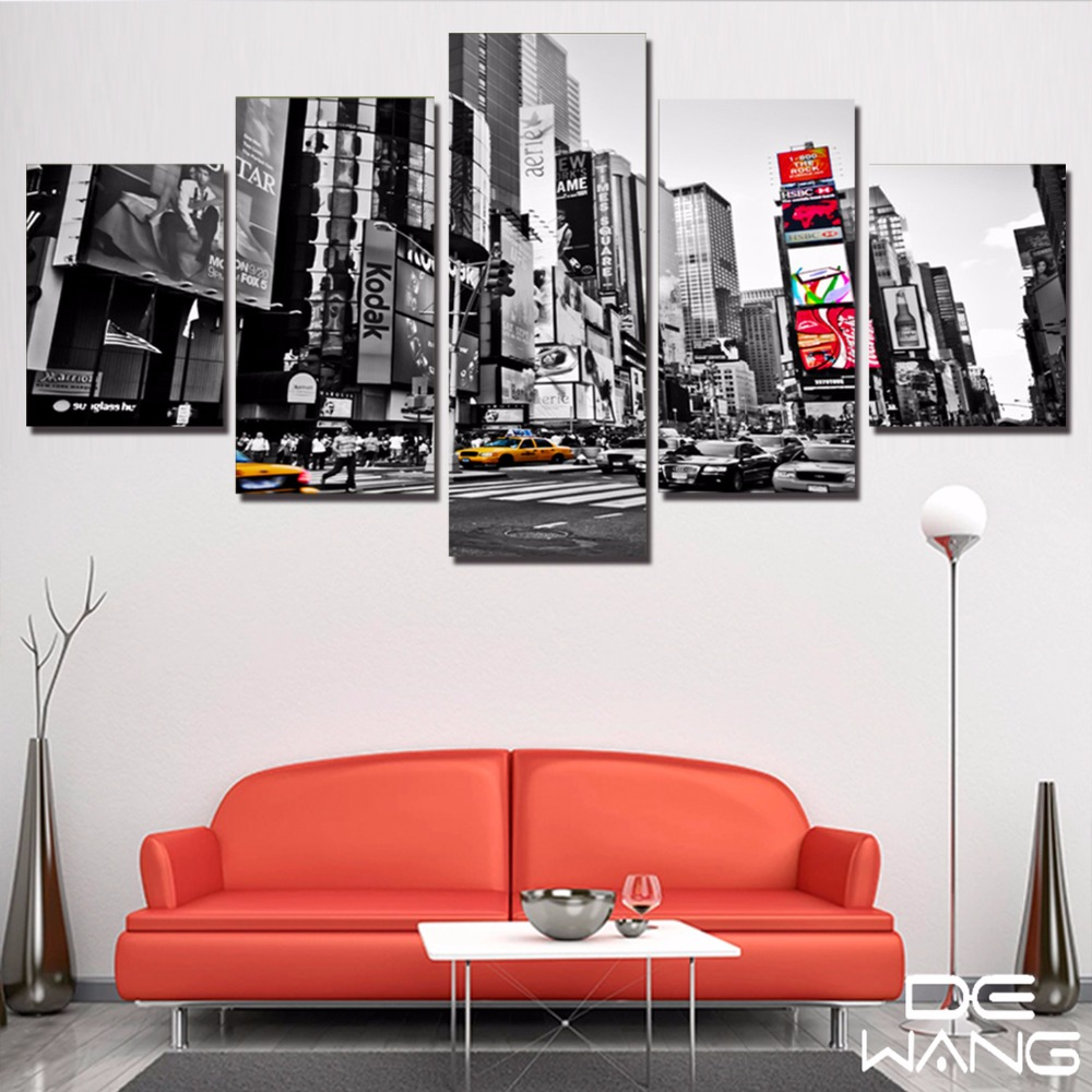 Large Framed Wall Art New York City Landscape Sunset: Black And White New York City 5 Pcs Canvas Wall Art Print