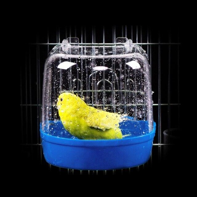 1Pc Plastic Bird Water Bath Box Bathtub Parrot For Parakeet Lovebird Finch Pet Cage Hanging Bowl Parakeet Birdbath 4