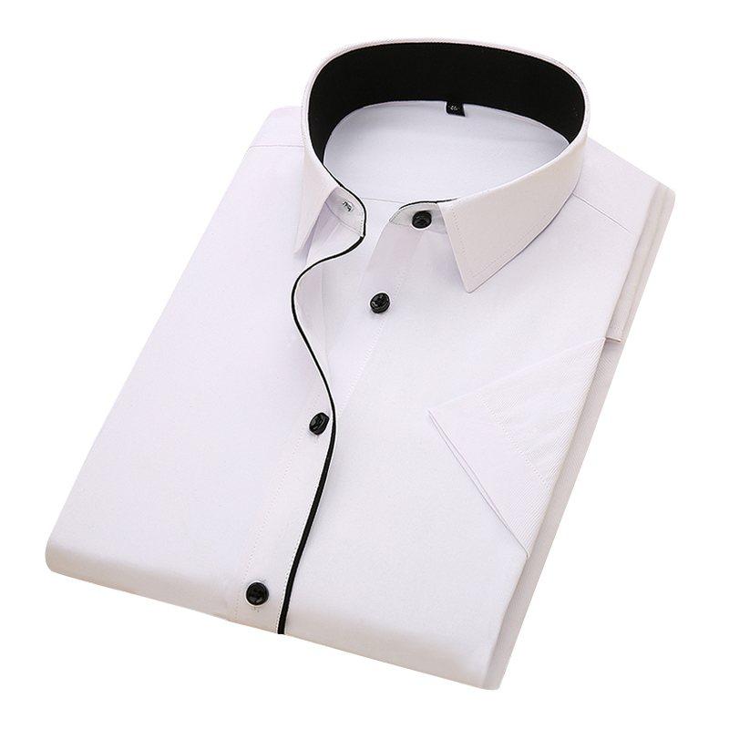 DAVYDAISY 2020 New Summer Men Shirt Short Sleeved Fashion Solid Twill Male Shirts Formal Business White camisa masculina DS249 3