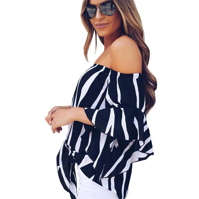 Tshirt 여성 2020 새로운 여름 유럽 슬래시 칼라 트럼펫 슬리브 인쇄시 폰 t 셔츠 여성 vestidos dropshipping nxb1267