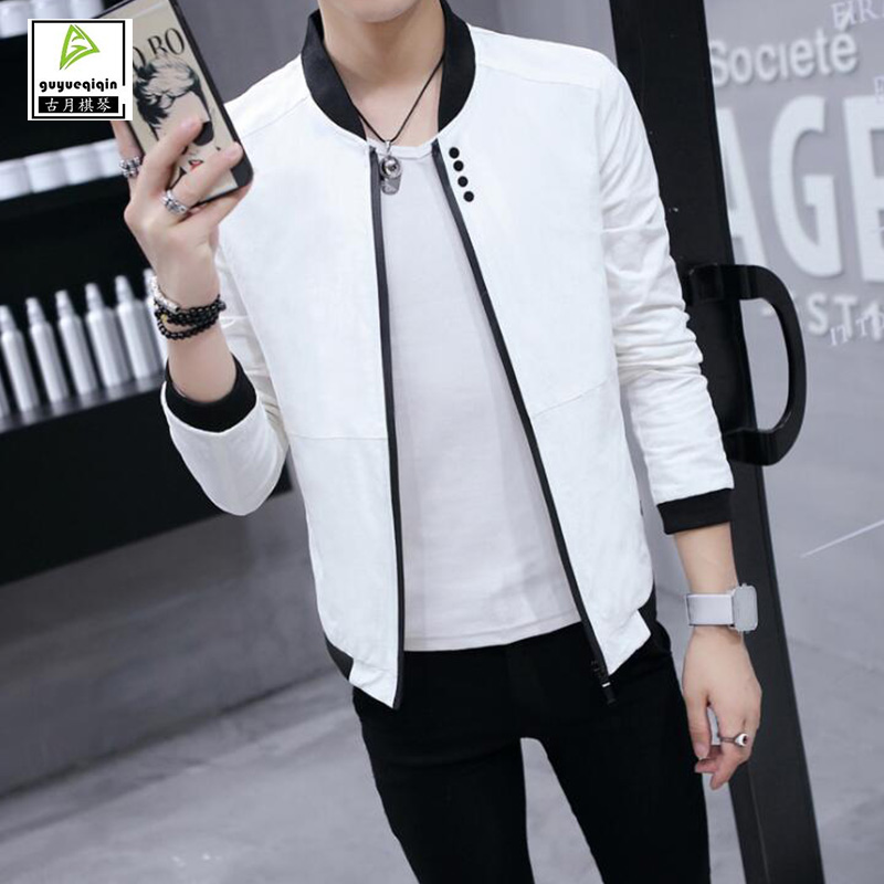 Korean Slim Spring Autumn Casual Jacket Men Thin Stand Neck Solid Color ZIpper Male Jacket Plus Size 3XL 5 Colors Free Shipping