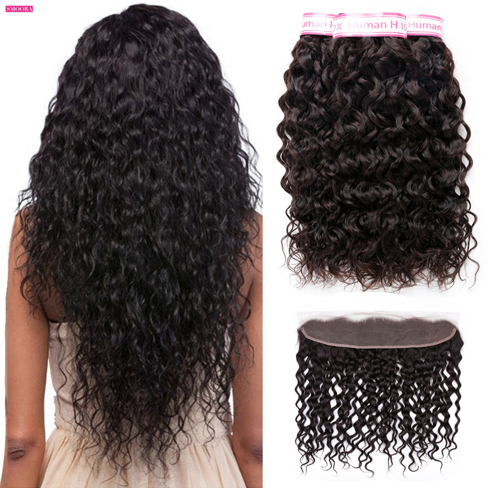 water wave bundle with frontal ear to ear closure