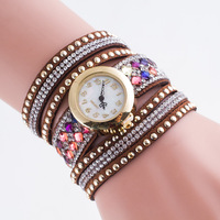 Women Leather Bracelet Watch Colorful Diamond Long Belt Ladies Dress Quartz Wrist Watches Clock