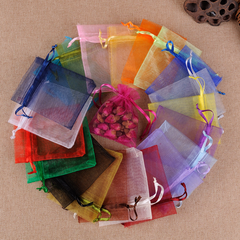 JHNBY 50pcs 7x9 9x12 10x15 13x18CM Organza Bag Beads Jewelry Packaging Bags Wedding Party Decoration Drawable Bags Gift Pouches