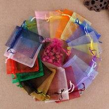 JHNBY – sac en Organza pour perles, emballage de bijoux, décoration de fête de mariage, pochettes cadeaux, 7x9, 9x12, 10x15, 13x18CM, 50pcs
