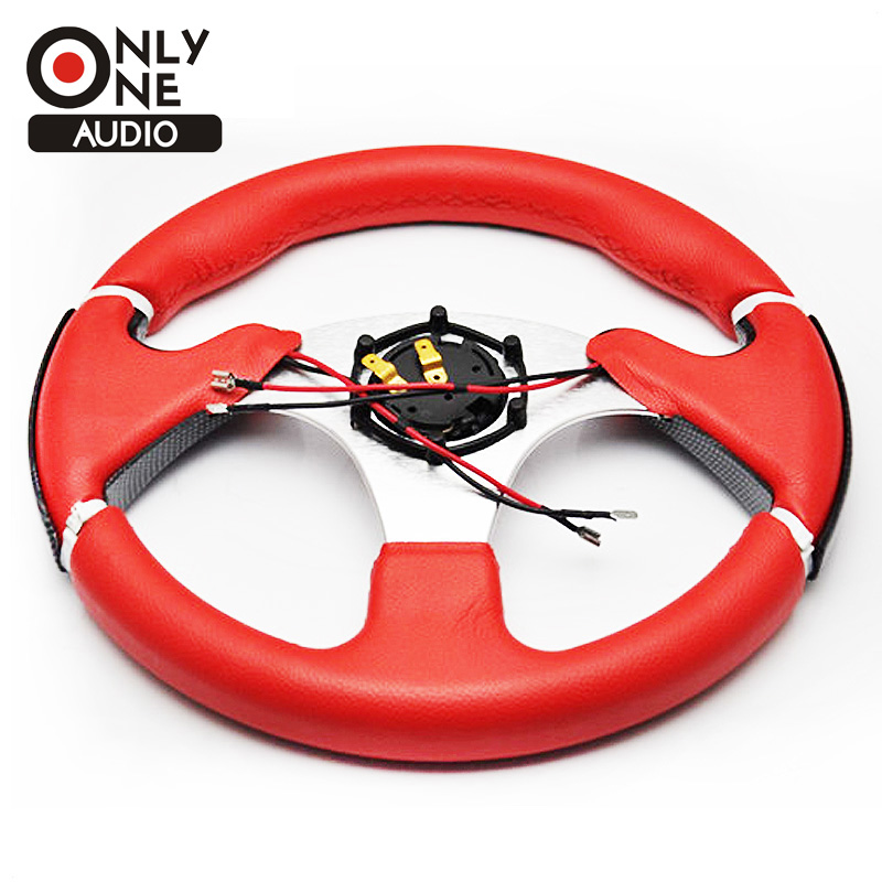 ONLY ONE AUDIO Universal 13 inch(320mm) Racing Sport PVC Leather Cover Auto Steering Wheel with Horn Button