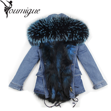 YOUMIGUE fashion cold winter outwear 2017 new natural fox real fox fur lined parka with natural big size raccoon fur collar trim
