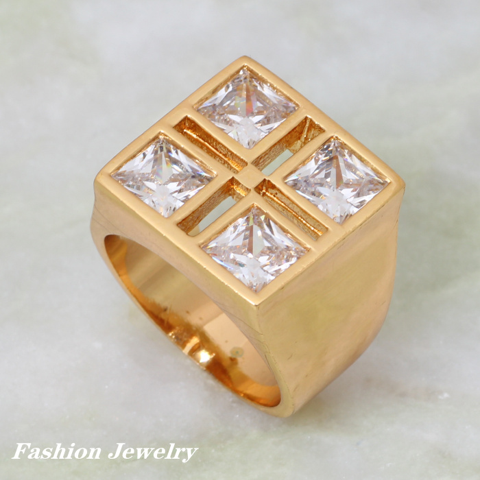 Latest Design Unique Design Luxury ring White cubic zirconia gold ...
